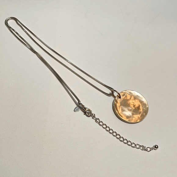 Chico's reversible gold/silver pendant necklace